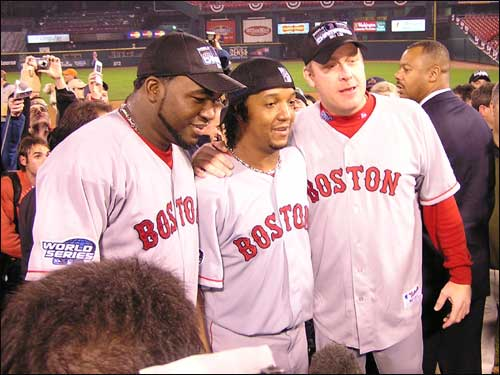 "David Ortiz, Pedro Martinez, and Curt Schilling tape an ""I'm going to Disney World"" sport for television."