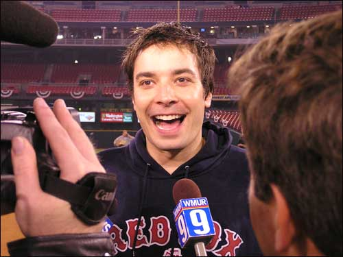 Actor Jimmy Fallon is in a very jolly mood indeed after watching the Red Sox make history.