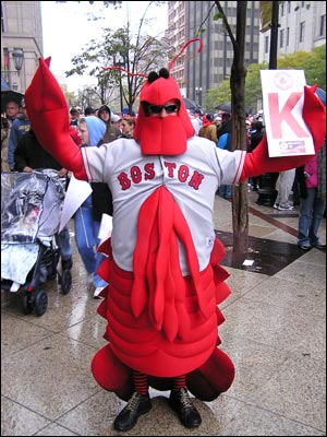 Jeremy Taylor, 25, of North Quincy, managed to fit a David Ortiz jersey over his lobster costume.