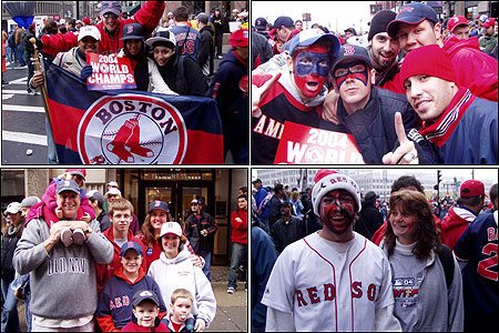 It's a sea of red, white, and blue at the Red Sox parade today. These fans were happy to pose for Boston.com's camera, but even more thrilled to see members of their favorite team.