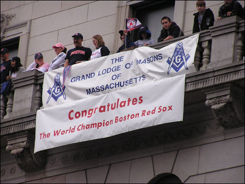 Fans celebrated above this banner at the corner of Tremont and Bolyston streets.