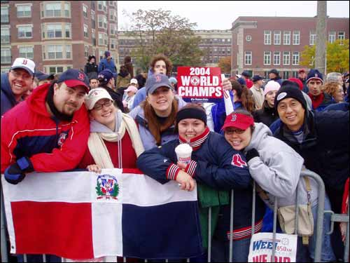 Doug Priore from Natick sent in this photo from the parade route. Priore said he and his friends lined up at 1:00 am to get front row seats.