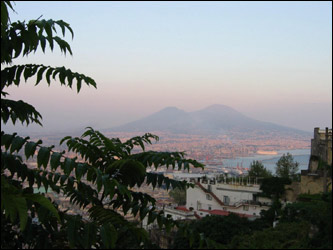 Terra Walker visited Naples, Italy, in September and captured the beauty and history of the city's landscape and culture. This is a view of Mount Vesuvius from San Martino.