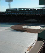The new Fenway field is protected from the winter elements.