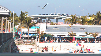 This is a view of the Fort Myers' beach coastline, overlooking Times Square and the bridge to the mainland.