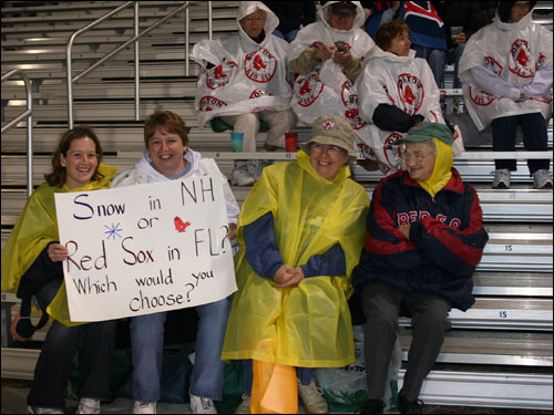 Jessica Woodbury and Ann Peterson from Laconia, NH thought they were getting the better of the weather by making the trip to Florida. We're not so sure there was much of a difference last night.