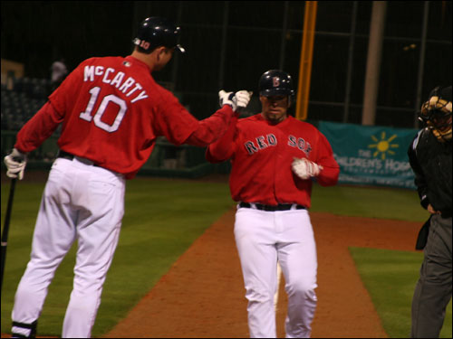 Up and coming Red Sox catcher Shawn Wooten crushed a home run in the eighth inning last night much to the delight of the 27 people left in the park at that time.