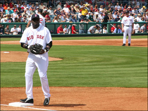 Usually designated as the man who rarely plays the field, David Ortiz found himself with a first baseman's mitt against Philadelphia. He was actually quite nimble around the bag.