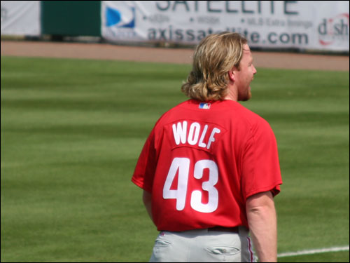 Phillies starter Randy Wolf shut out the Sox in his two innings of work. It looks like he's trying to work Johnny Damon's side of the street in the hair department.