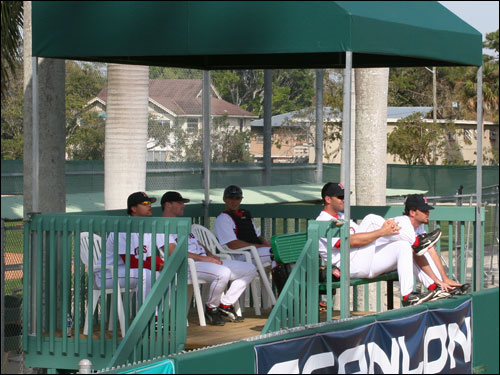 Sox reserves get to sit in City of Palms Park's own version of the Green Monster seats. And these seats also come with built-in shade.