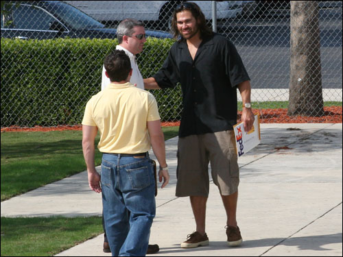 Sox Rock Star Johnny Damon sports the casual Sunday look after going 0-for-3. The king of casual was hounded by autograph seekers as he attempted to leave the park as usual.