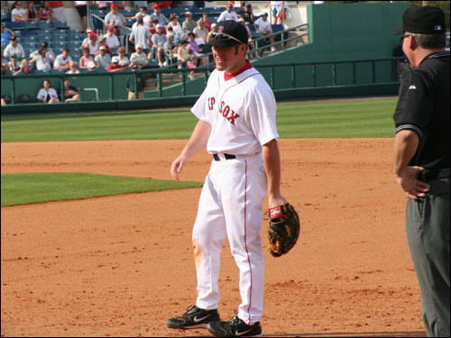Kevin Youkilis played some first base on Sunday and drove in a run while going 2-for-4.