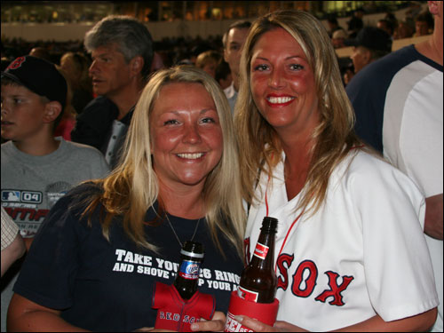 Boston's Jessamy Finet and Erin Nanstad, 'stars' of the ill-fated Sox documentary 'Still, We Believe' were in the house. They will also be appearing in the upcoming Farrelly brothers flick 'Fever PItch.'