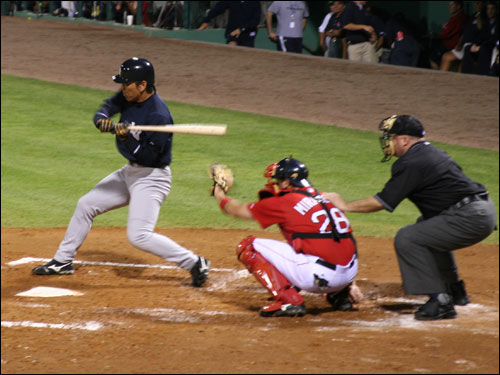 Yankees outfielder Hideki Matsui was a Sox killer on Monday night, hitting a double, home run, and scoring three runs on the night.