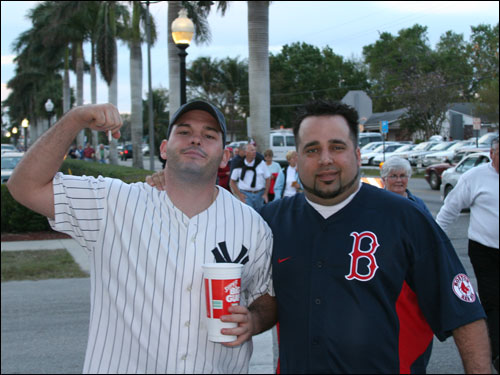 The rivals are back. Yankee fan Bill from New York and Sox fan Juan from Tampa were going to try to watch the game together without any fisticuffs.