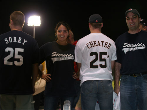 Paul and Andrea from New Jersey and JJ and Shaun from Boston were at City of Palms Park showing off their Steroids All-Stars gear directed at Jason Giambi and Barry Bonds.