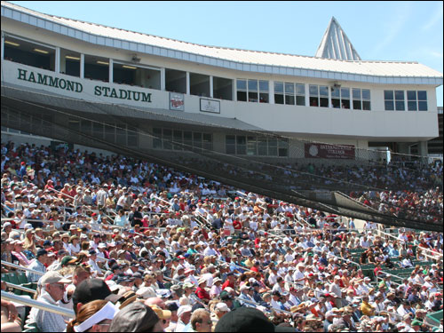 Unlike City of Palms Park, where most fans are in the shade, fans at Hammond Stadium are mostly in the sun during day games. The temperature hit 80 degrees on Sunday.
