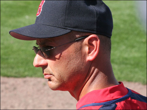Sox manager Tito Francona watches the action at Hammond Stadium on Sunday. He is very comfortable with his team this spring after winning the World Series in 2004.