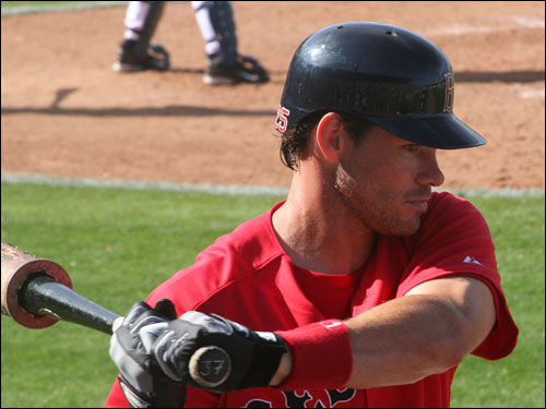 Adam Hyzdu was on the Sox 40-man roster and hopes to crack the team as the fifth outfielder. He batted .301 for Pawtucket last season and is batting .200 on the spring in 15 at bats.