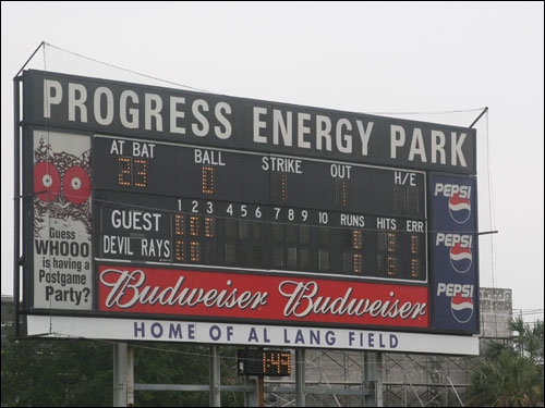 The Tampa Bay Devil Rays play in St. Petersburg at Progress Energy Park, home of Al Lang Field. Have they met the Anaheim Angels of Los Angeles?