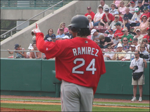 Manny Ramirez, who went on to score the first run of the game on a Doug Mirabelli sac fly, reminds David Ortiz how many outs there are.
