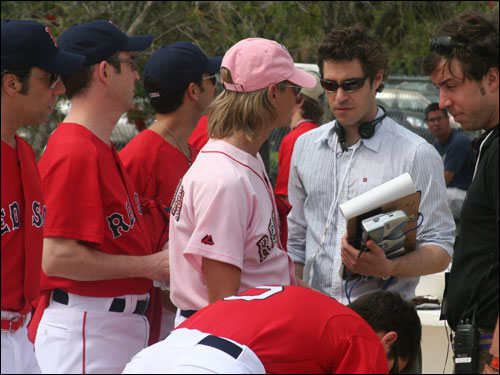 The Bravo production crew goes over the plan to shoot the opening segment in the Red Sox episode of 'Queer Eye for the Straight Guy' which will air on June 7.