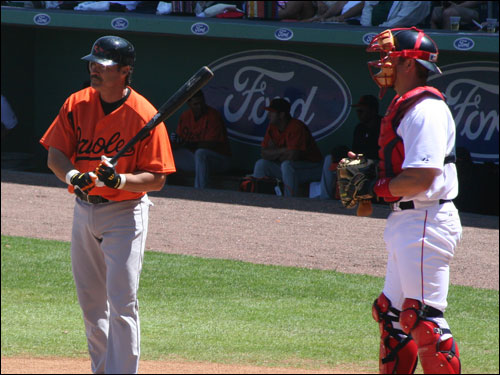 Rafael Palmeiro, fresh off an appearance in Congress, made the road trip with the Orioles on Saturday.