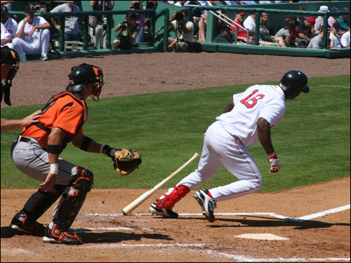 Edgar Renteria gets a base hit against the Orioles but the Sox were limited to only five hits and no runs on the day.