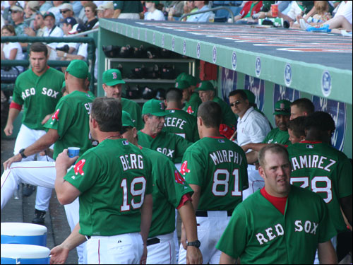 The Sox dugout was a sea of green on Friday as the team wore the traditional St. Patrick's day green uniforms a day after the holiday rainout.