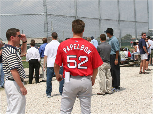 Right-handed pitcher Jon Papelbon is considered by some to be the No. 2 prospect behind Hanley Ramirez in the Red Sox system. He was on hand to see Schilling, Varitek, and Mueller play with the minor leaguers.