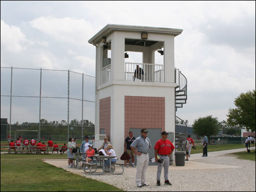 From the watch tower in the center of the training complex, Red Sox brass, managers, and scouts can watch the action on four baseball fields.