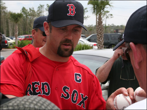 Sox captain Jason Varitek took some time to appease the autograph hounds before leaving the training complex where he caught Curt Schilling for three innings.