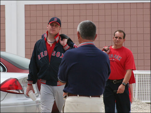 Curt Schilling gets ready to leave the Red Sox minor league complex after completing three innings of work as he recovers from offseason ankle surgery.