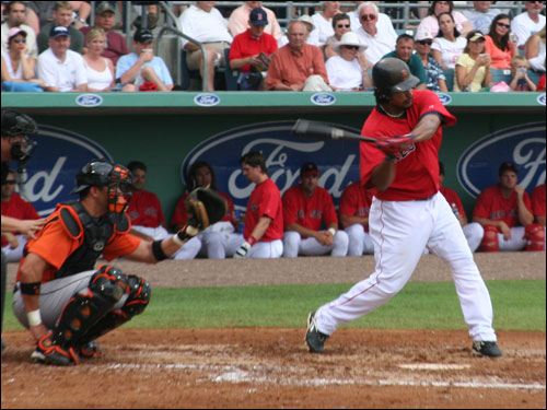 Manny Ramirez hit a single and scored the only Sox run on the day in the 6-1 loss to Baltimore.