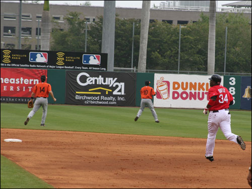 David Ortiz continued his hot hitting this spring and roped an RBI double off Orioles lefty Erik Bedard.
