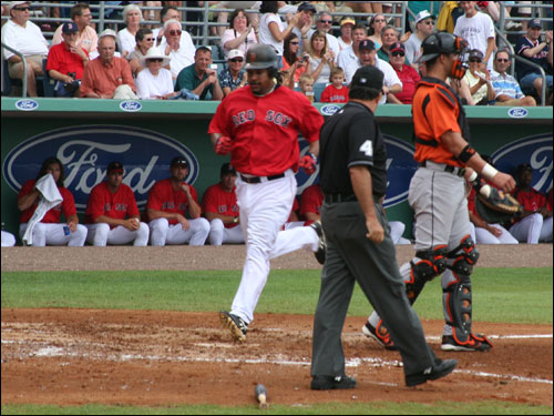 Manny Ramirez came on to score the only Sox run on the day after David Ortiz hit a double to drive him in from first base.