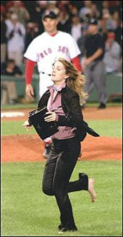 Dave Mitrou from Stow (in background) played a pitcher in the new film 'Fever Pitch' starring Drew Barrymore (front).