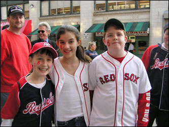 Kids say it's quite exciting to have movie stars in Boston. From left, Leisa Loan, 12, of Charlestown; Daniela Salcedo, 12, of the North End; and Quinlan Locke, 12, of Charlestown.
