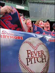 The gates at Fenway Park opened for the first time this season, but it wasn't for the home opener. Instead, fans filled the stands to watch movie stars, Red Sox players, and other New England notables stroll down the first-base line along a Hollywood-style red carpet for the 'Fever Pitch' movie premiere event.
