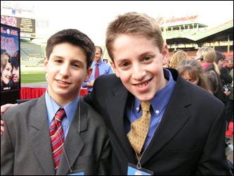 Eli Kauffman, 14, and Alex Edelman, 16, came as part of the Red Sox Kid Nation media team.