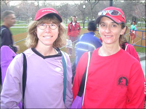 Pat Tuero (left), 41, and Jean Parks, 42, are from New Market, Ontario and are running the Boston Marathon for the first time.