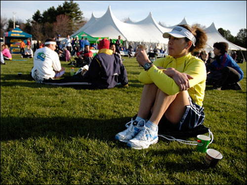 Blythe Thornton, 37, from Tracy, Calif., will be running in her first Boston Marathon, and her second marathon overall.