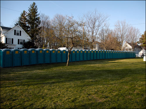 Plenty of portable toilets were on hand in Hopkinton in an attempt to curtail the need for runners to use front yards for 'relief.'
