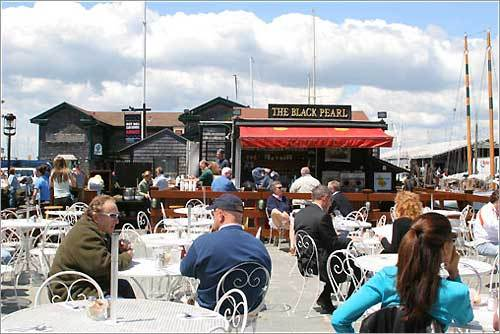 Best place to snack, drink and for the best New England 'clam chowda' is the Black Pearl in Bowen's Wharf. Right on the harbor with patio seating. - Sarah, Cumberland, RI