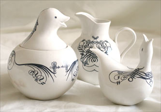 Duck pattern table servers from Arvind Borde's private collection.