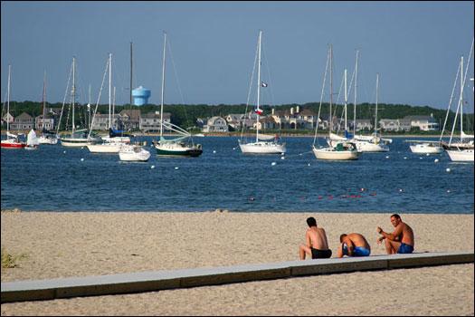 Boats anchored offshore at Veterans Park, Hyannis. Veterans Park