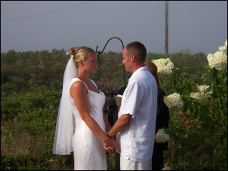 Casey Crocker and Brian Murphy marry in Madaket, Nantucket at a small ceremony at a family summer cottage.