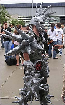 Curt Doble, 22, from Danvers grabbed a lot of attention in his Gwar costume, but didn't make it on to round two. Here he sings 'Ice, Ice, Baby' by Vanilla Ice.