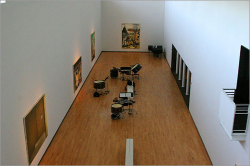 A view of one of the rooms at Mass MoCa from above.