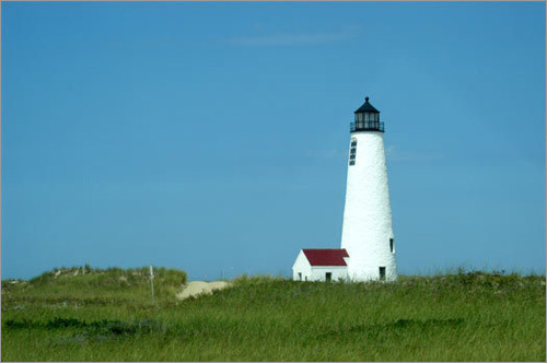 The Great Point lighthouse marks the eastern tip of Nantucket Island. The lighthouse is only accessible by four-wheel-drive vehicles that are permitted to go north of Wauwinet.